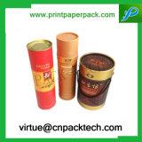 Boîte-cadeau ronde élevée de carton de thé estampée par couleur de modèle floral
