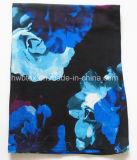 De bovenkant die Modieus Blauw verkopen bloeit de Viscose van de Druk Dame Scarf (HWBVS049)