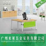 L mesa de escritório moderna da forma com pé do aço inoxidável