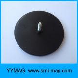 Aimant matériel de NdFeB de bac d'amorçage mâle de néodyme rond enduit en caoutchouc de terre rare
