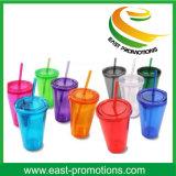 Os melhores artigos de venda personalizaram o frasco plástico da bebida do suco do logotipo com palha
