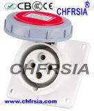 4p 16A impermeabilizan el socket industrial (ángulo) para el panel montado