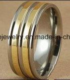 De Goede Kwaliteit van de Juwelen van Shineme en Ring van het Titanium van de Juwelen van de Overeenkomst de Goud Geplateerde (TR1840)