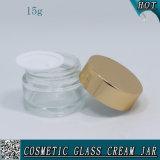 vaso di vetro cosmetico di 15ml 1/2 oncia per la crema di fronte con il coperchio di alluminio
