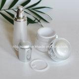Frasco acrílico ajustado branco do luxo novo/da prata loção para os cosméticos (PPC-NEW-109)