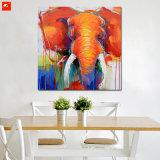 Pintura al óleo anaranjada del elefante con el marco