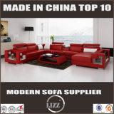 Echtes Leder-Wohnzimmer-Sofa mit Kaffeetische