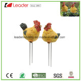 Mini estacas del crisol del jardín de las estatuillas del gallo y de la gallina de Polyresin para la decoración casera
