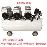 3X750W 100L met de Dubbele Compressor van de Lucht van de Olie van de Klep van het Pand van de Druk Magnetische Vrije