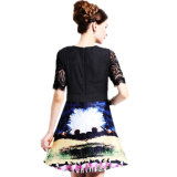 Spitze Women Dress Digital Printing Dress für Lady Clothing Summer Lycra