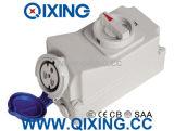 Самое лучшее продавая гнездо блокировки IEC 32A 3p голубое с переключателем