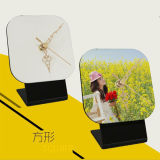 Personalização Custom Blank MDF Photo Frame Desk Clock para DIY Photo Printing