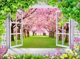 Fenster 3D sieht Kirschblüten-Ölgemälde für die Verzierung des Hauses an