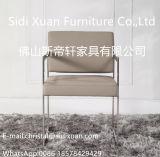 Cadeira de jantar de couro inoxidável do frame de aço da mobília moderna com a cadeira do lazer do braço