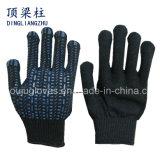 7 gants de sûreté tricotés par coton noir de mesure avec des points de PVC