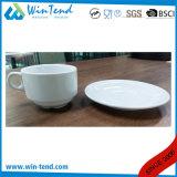 Taza y platillo de café blancos comerciales al por mayor de Latte de la porcelana