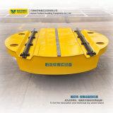 Carro motorizado de transferência da plataforma giratória na manipulação dos trilhos cruzados