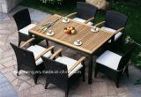 Tabella pranzante della mobilia del rattan esterno del quadrato, mobilia esterna di vimini