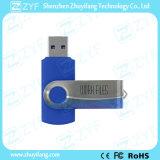 ロゴ(ZYF1819)のスカイブルーの金属の旋回装置のプラスチック8GB USBのフラッシュ駆動機構