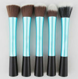 5 PCS Plake Blue Long Aluminium Tube Small Pretty Waist Special Handle Foundation Brush
