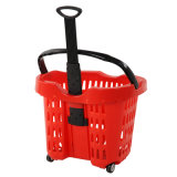 2016 vente en gros Supermarket Plastic Rolling Shopping Baskets avec Wheels