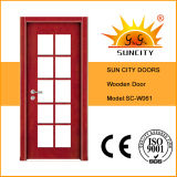 Hölzerne Tür mit Glasanblick-Panel