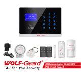 Sistema de alarma del protector del lobo del G/M con la pantalla del LCD para la voz alemana italiana española de la seguridad de la casa (YL-007M2)