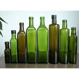 frascos de vidro quadrados verdes de petróleo verde-oliva de 250ml 500ml Marasca