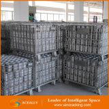 Lager-Speicher, der stapelbaren Stahlmaschendraht-Behälter faltet