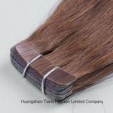 ブラウンの毛の拡張20PC/Set皮透過のWeftテープ毛はつく