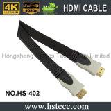 Câble plat de PVC HDMI de qualité avec le connecteur plaqué par or