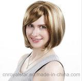 여자 합성 머리 가발 형식 기울어지는 프린지 푹신한 바브 가발