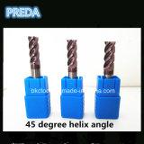 Carboneto contínuo moinhos de extremidade das flautas do ângulo de hélice 4 de 45 graus