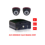4-CH Full D1 H. 264 Vehicle/Mobile DVR com &SD Card de Safe Lock Support HDD 1t a 128g max