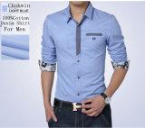 Il manicotto lungo di modo ha rattoppato la camicia degli uomini stampata fabbricato