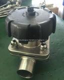 Válvula de diafragma sanitaria inoxidable de la soldadura al acero, válvula de diafragma manual (G61F)