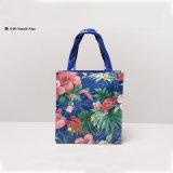 Deux tailles sacs à provisions bleus de configuration de plante et de fleurs (H036-010)
