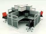 Офисная мебель 2 кабины офиса Seater с шкафом двери стеклянной перегородки & завальцовки (HF-YZ061)