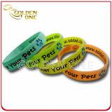 Wristband силикона логоса способа изготовленный на заказ светящий цветастый напечатанный