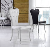 Weißes Leather Metal Dining Chair mit Diamond