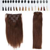 着色されたブラジルのねじれた巻き毛クリップ毛は束を詰める