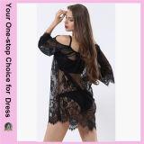 Femmes plus la robe sexy de plage de lacet de plage d'été de taille (50094)