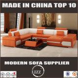 Sofá secional do couro da forma dos projetos ajustados U do sofá da mobília moderna
