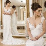 O tampão Sleeves o vestido de casamento Y1647 da bainha do laço do vestido nupcial