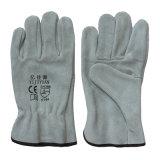 Rindleder-aufgeteiltes Leder-Handschützende Sicherheits-Arbeitsfahrer-Handschuhe