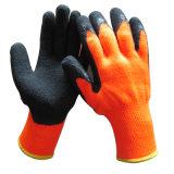 La metà ha tuffato il guanto arancione su visibile termico del lavoro di inverno dei guanti del lattice