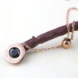 Collier pendant rond d'agate noire de femmes de collier de chaîne d'acier inoxydable