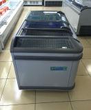 Congelador profundo móvel de vidro superior da caixa da porta deslizante do supermercado