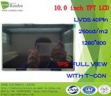 """10.1 """" IPS 1280*800 Lvds 40pin Hoogtepunt 250CD/M2 - mening Aangepaste LCD"""