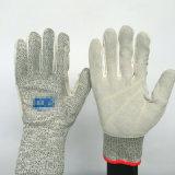 Hppe + gants de travail en fibre de verre avec couture en cuir, coupe 5
